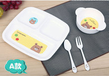 2016 new 4 pcs/set  melamine baby infant cute feeding plate fruit dishes kids child tableware set