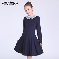 Girls Dresses Lace Long Sleeve Detachable Collar A Line Kids School Dress Knee Length Knitted Spring