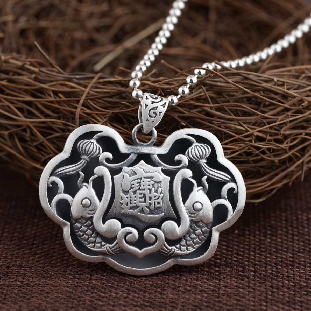 цена 2018 New Necklace Pendant wholesale jewelry Thai silver new pendant prajnaparamita heart sutra archaize style