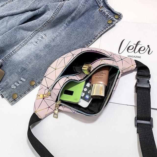 Women's Fashion Waist Packs Personalized Rock and Roll Color PU Leather Flashing Lattice Belt Bag Nerka Fanny Pack 6