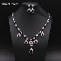 Sparkling White Gold Plated Cubic Zirconia Diamond Dangle Drop Large Vintage Black Wedding Jewelry Sets For