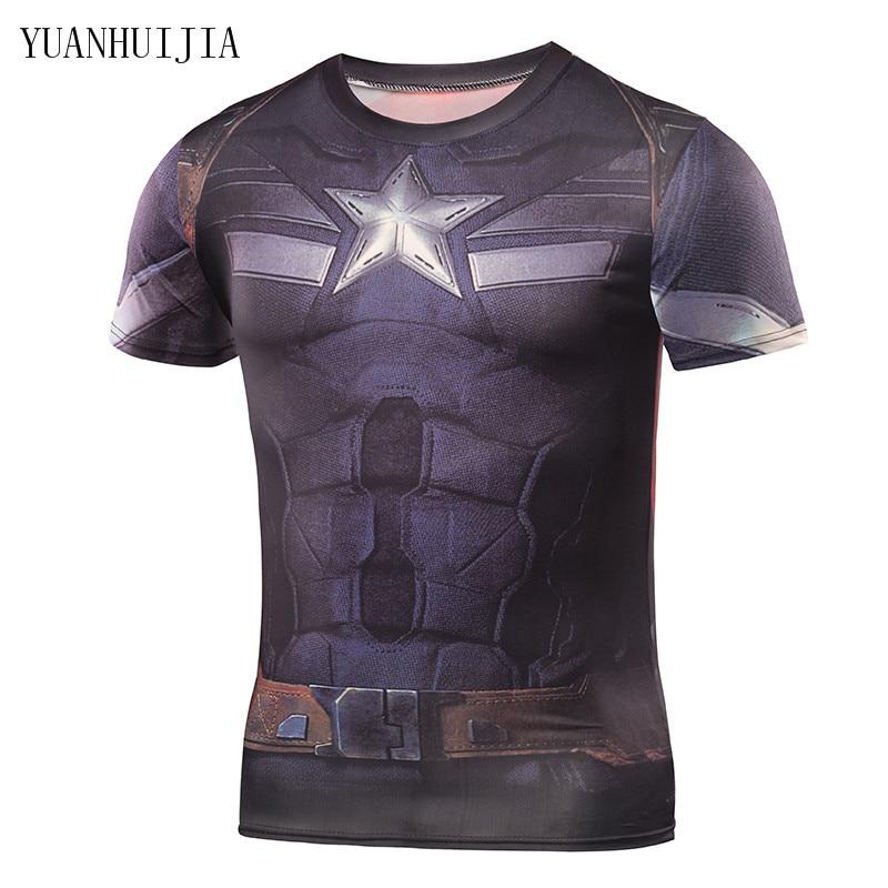 Mens T Shirts Fashion 2016 Brand Clothing Superman Punisher Lycra 3D T Shirt Men Batman Crossfit