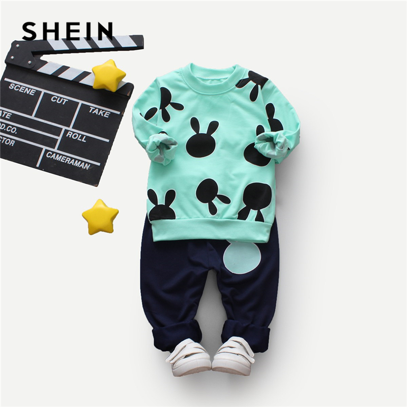 Фото - SHEIN Kiddie Toddler Boys Cartoon Print Pullover With Pants Children Clothing 2019 Spring Long Sleeve Casual Suit Sets For Kids fashion plaid blazer for boys england style formal suits long sleeve shirt vest pants 3pcs kids suit boys wedding clothes h012