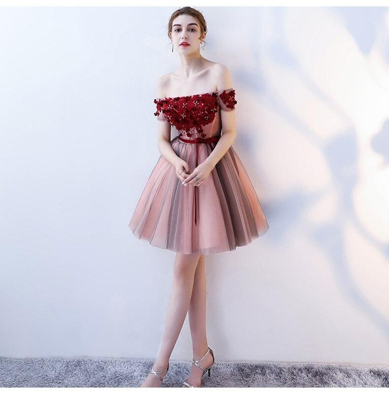 Doux hors de l'épaule rétro Floral BeadsLace Robe de Cocktail dos nu cristal Tulle Mini robes de Cocktail robes de soirée courtes