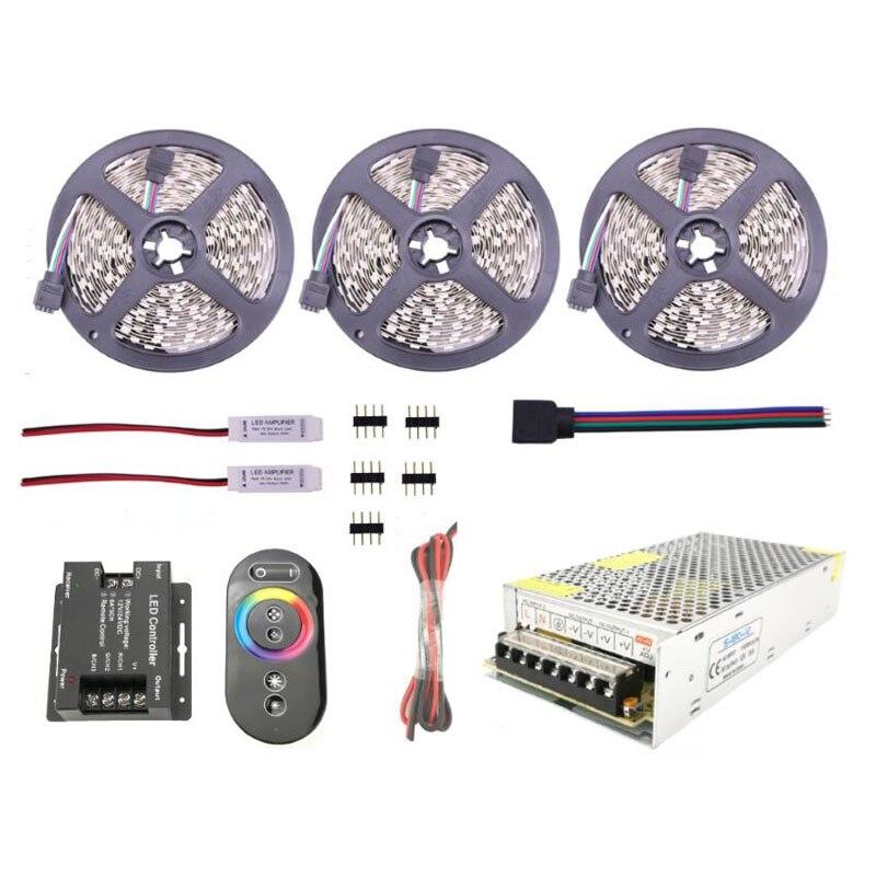 DC12V 5050 RGB LED Bande Bande avec 6Ax3CH tactile télécommande gradateur 10 m 15 m étanche IP65 IP20 ruban corde Lampe