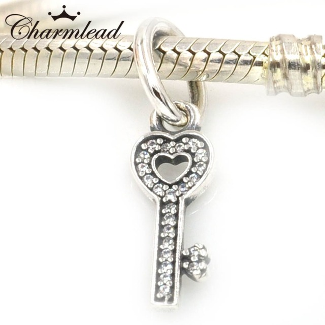 Authentic 925 Sterling Silver Charms Key Symbol Of Trust Charm Pendant Fits Pandora Bracelet Diy