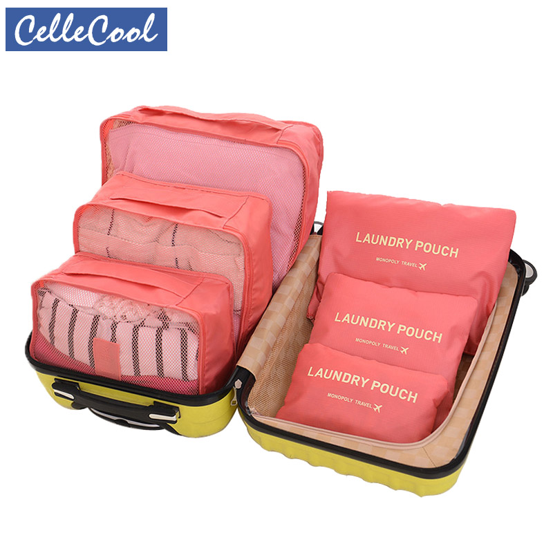 CelleCool 6PCS/Set Oxford Cloth Travel Mesh Bag In Bag High Quality Luggage Organizer Packing Cube Organiser For Clothing