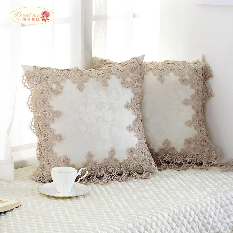Proud Rose European Style Lace Pillowcase Back Cushion Fashion Romantic Home Decoration The Office Back Cushion With Pillow Core