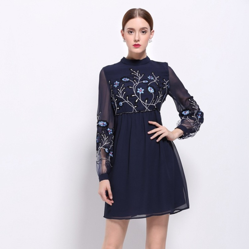 hot sale dresses 2017 new spring summer Slim Embroidery flowers Party dress plus size fashion Women