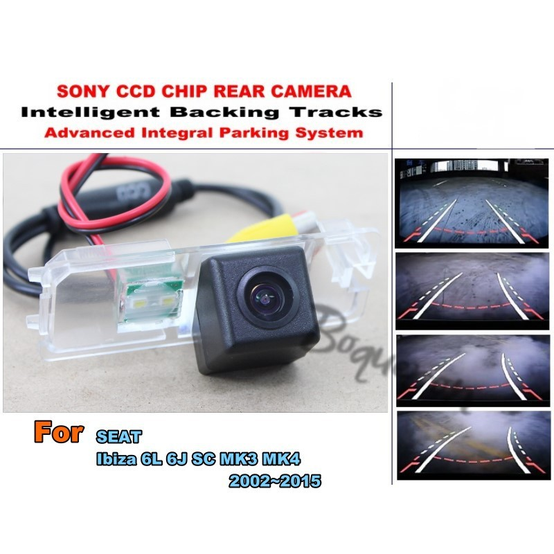 Smart Tracks Chip Camera / For SEAT Ibiza 6L 6J SC MK3 MK4 2002~2015 HD CCD Dynamic Tragectory Parking Car Rear View Camera for mazda cx 3 cx 3 cx3 2014 2015 smart tracks chip camera hd ccd intelligent dynamic parking car rear view camera