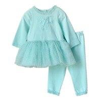 Retail-baby meisje kleding set pasgeboren peuter katoen kant pak kids baby meisjes dress + leggings baby kleding set voor meisjes blauw