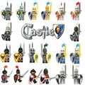 20pcs Roma Warrior Knight figure Castle Knights with Weapon Sword shield Building Block horse Lion Dragon minifigs