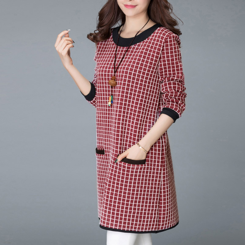 Women s Plus Size Long Sleeve Plaid O Neck Jumper Dress Ladies Autumn Loose  Tunic Dress-in Dresses from Women s Clothing on Aliexpress.com  82e0ca31e9ca