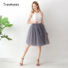 6 Layers 65cm Long Tutu Tulle Skirt Pleated Skirts Womens Dance Girl High Waist Skirt Cute School Skirt 2017 faldas saias jupe