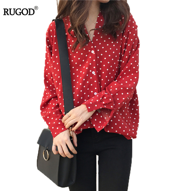 4ddc5ae681 RUGOD 2018 Fashion Red Christmas Women Chiffen Blouses V-neck Long Sleeve  Button Women Tops Loose Polka Dot Women Shirts