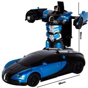 Image 5 - 2.4G Induction déformation RC voitures Transformation Robot voiture jouet lumière Robot électrique modèles jouets pour enfants cadeaux