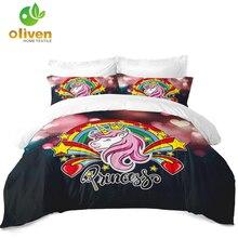 Princess Unicorn Bedding Set Colorful Sugar Cartoon Duvet Cover Heart Rainbow Print Girls Bedclothes Pillowcase D49