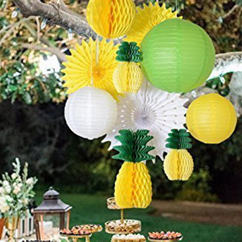10pc (Yellow Green White) Summer Party Decoration Set Honeycomb Pineapple Paper Lantern Fans Luau Beach Tropical Party Backdrop
