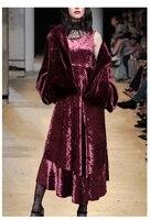 Теплые зимние имитация кроличьей шерсти 2 шт. костюмы женские наборы Элегантный тонкий короткое пальто с бархатным платьем винно красный ко
