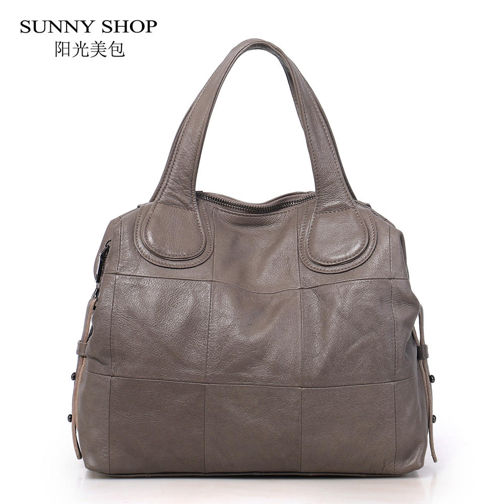 SUNNY SHOP Luxury 100% Genuine Leather Bags For Women 2018 Soft Natural Skin Tote Vintage Messenger Bag Plaid Ruched Designer