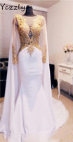 Reale Abbildungen Dubai Arabisch Luxury Long Sleeves Gold Perlen Applikationen Abend Prom Kleider Weiß Backless Pailletten Formal Dress E33