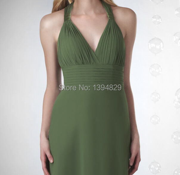 84278ffdab2 Youthful Olive Green Bridesmaid Dresses Halter V neck Chiffon A line Long  2014 2015 Custom Made Vestido De Madrinha-in Bridesmaid Dresses from  Weddings ...
