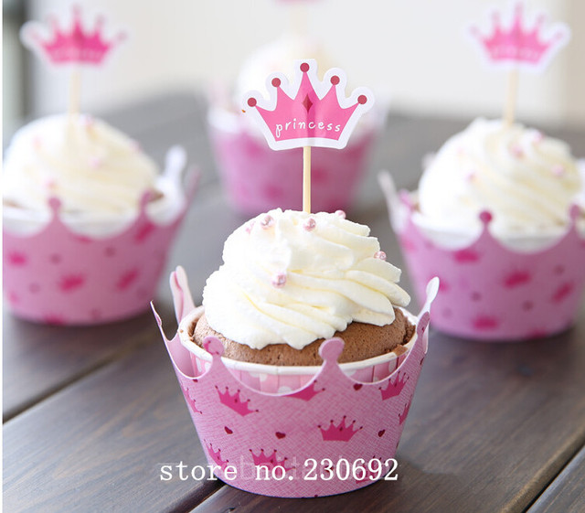 Free Shipping Pink Princess Crown Cake Toppers Picks Baby Girl Party  Birthday Decorations Supplies Baby Shower