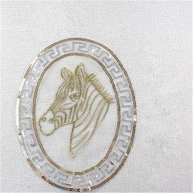 T shirt mujeres bordado remiendo animal 27 cm cabeza de caballo con ...