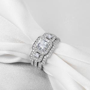 Image 2 - Newshe 3 Pcs Wedding Ring Set Klassieke Sieraden 925 Sterling Zilver Princess Cut Aaa Cz Engagement Rings Voor Vrouwen Maat 5 12
