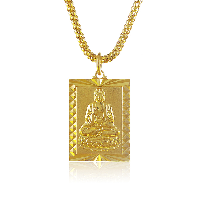New trendy and vintage 70cm long 24k gold buddha rectangle for Zen culture jewelry reviews