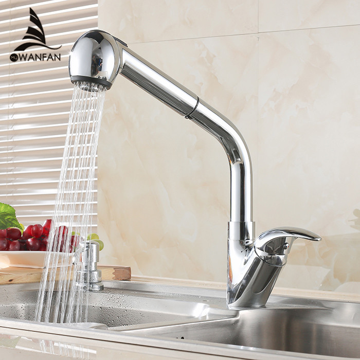 Kitchen Faucets Chrome Color Pull Out Kitchen Sink Faucet Hot And ...