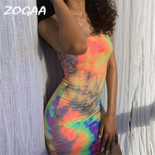 2019 Brand New Women Female Sling Sleeveless Slash Neck Tie Dyeing Print Bodycon Short Mini Pencil Dress for Party Cocktail Club