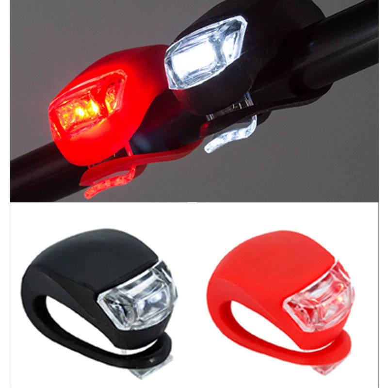 Silicone Waterproof Bike Bicycle Cycling Head Front Rear LED Flash Light Lamp Headlight