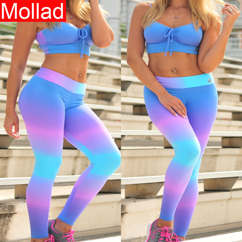 Hot Selling Rainbow Print Women Push UP Sexy Fitness Leggings Ombre Color Leggings
