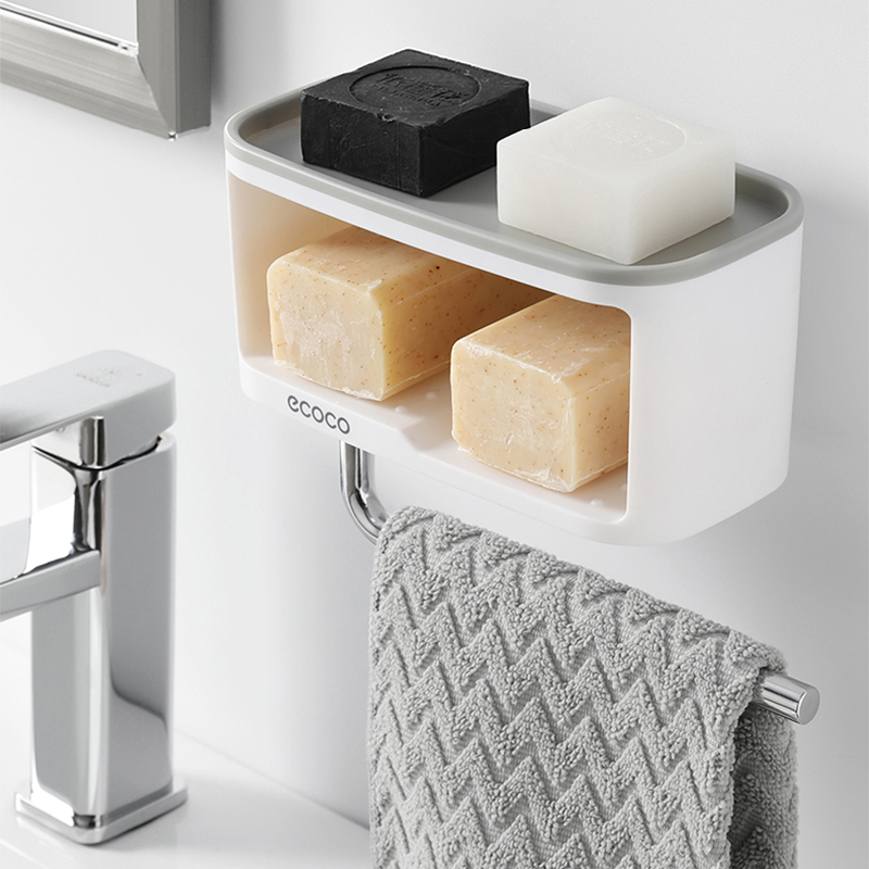 Double Layer Soap Holder Towel Bar Paper Holder Storage Platform Plastic Soap Box Big Container 2019 New Bathroom Soap Dish