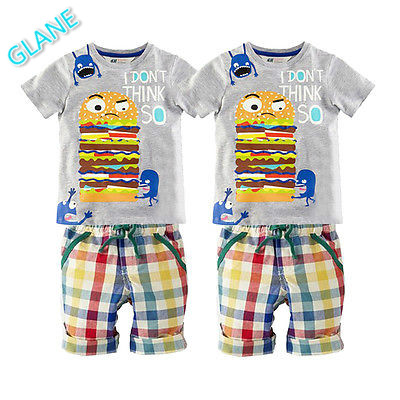 2016 Boy Kid Baby Hamburg Summer Short Sleeve T-shirt Tops Plaid Pants Outfit 1-6T Sports Suit For Baby Kids Boy Clothes new hot sale 2016 korean style boy autumn and spring baby boy short sleeve t shirt children fashion tees t shirt ages
