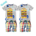 2016 Boy Kid Baby Hamburg Summer Short Sleeve T-shirt Tops Plaid Pants Outfit 1-6T Sports Suit For Baby Kids Boy Clothes