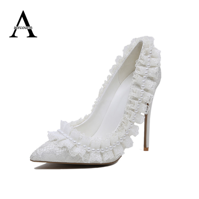 Aliexpress Buy Aercourm A Handmade Wedding High Heels Shoes White Dress Bridal Shoes
