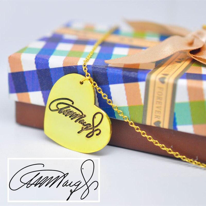 Золотое сердце Цепочки и ожерелья гравировка Подпись ручной штамп Почерк персонализированные памяти изделия Colar