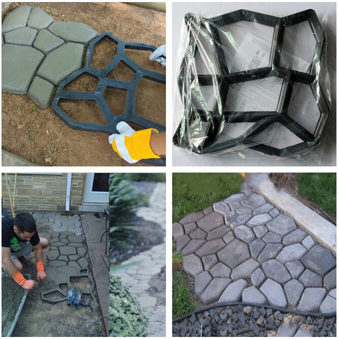 43x43cm Indkørsel Bane Brick Patio Betonplader Sti Pathmate Have Hegn Walk Maker Mould Garde Path Maker Mould