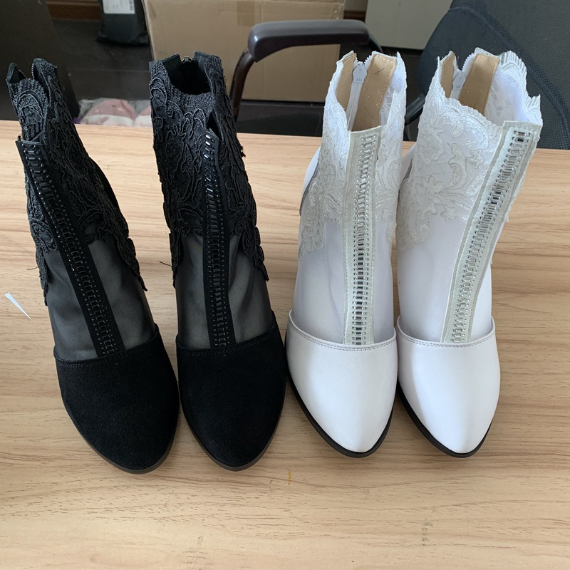 ORCHA LISA Sweet Women summer clear mesh boots 7cm high heel floral ankle boots Party office shoes Botas mujer pluz size 42