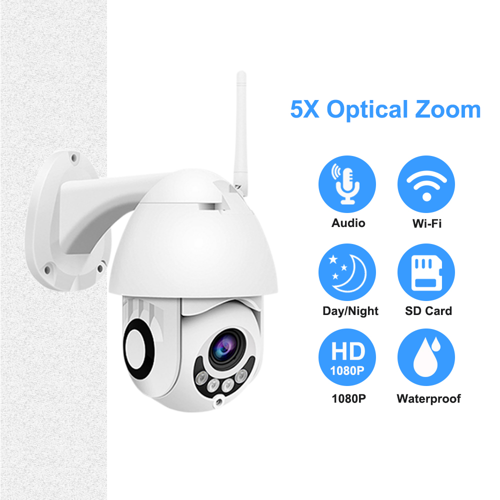 1080P Outdoor WiFi Camera 5X Zoom Two Way Audio PTZ IR Night Vision Mini Security IP Camera HD 2.7 Inch Support Onvif SD Card-in Surveillance Cameras from Security & Protection    1