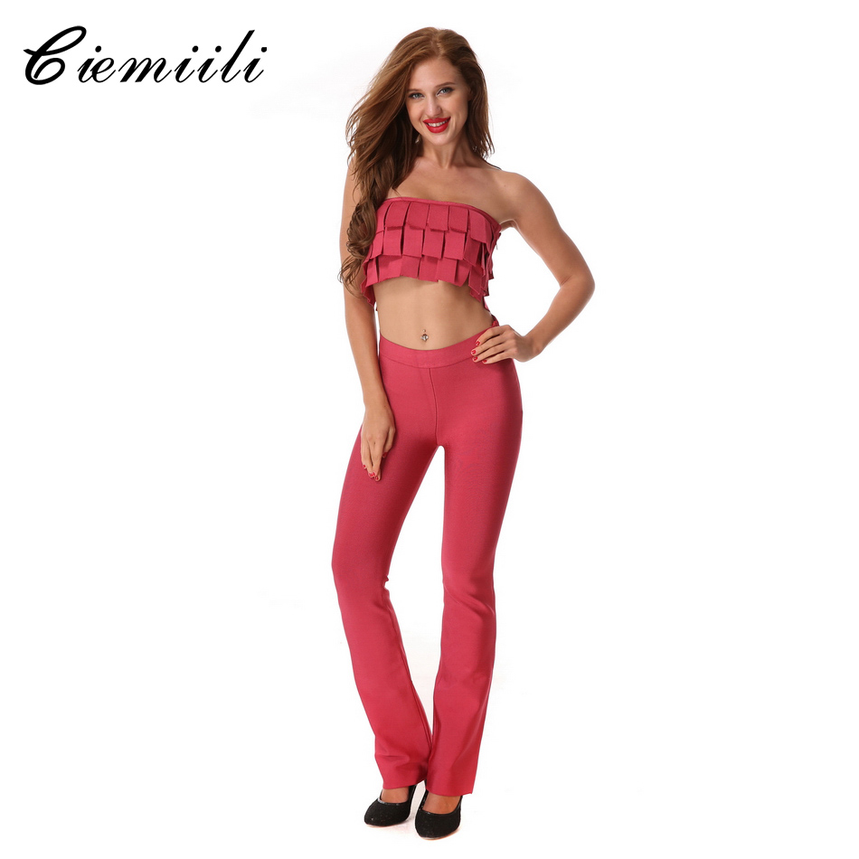 CIEMIILI 2017 New Women Sexy Bandage Bodycon Jumpsuits 2 Two Pieces Set Strapless Tassel Flare Lady Runway Suits Top and Pant