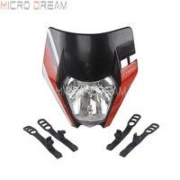 Black Motocross Headlight Head Light E mark For Honda Yamaha KTM EXC SMR SX XC F SX 125 250 450 Enduro MX Universal Headlamp