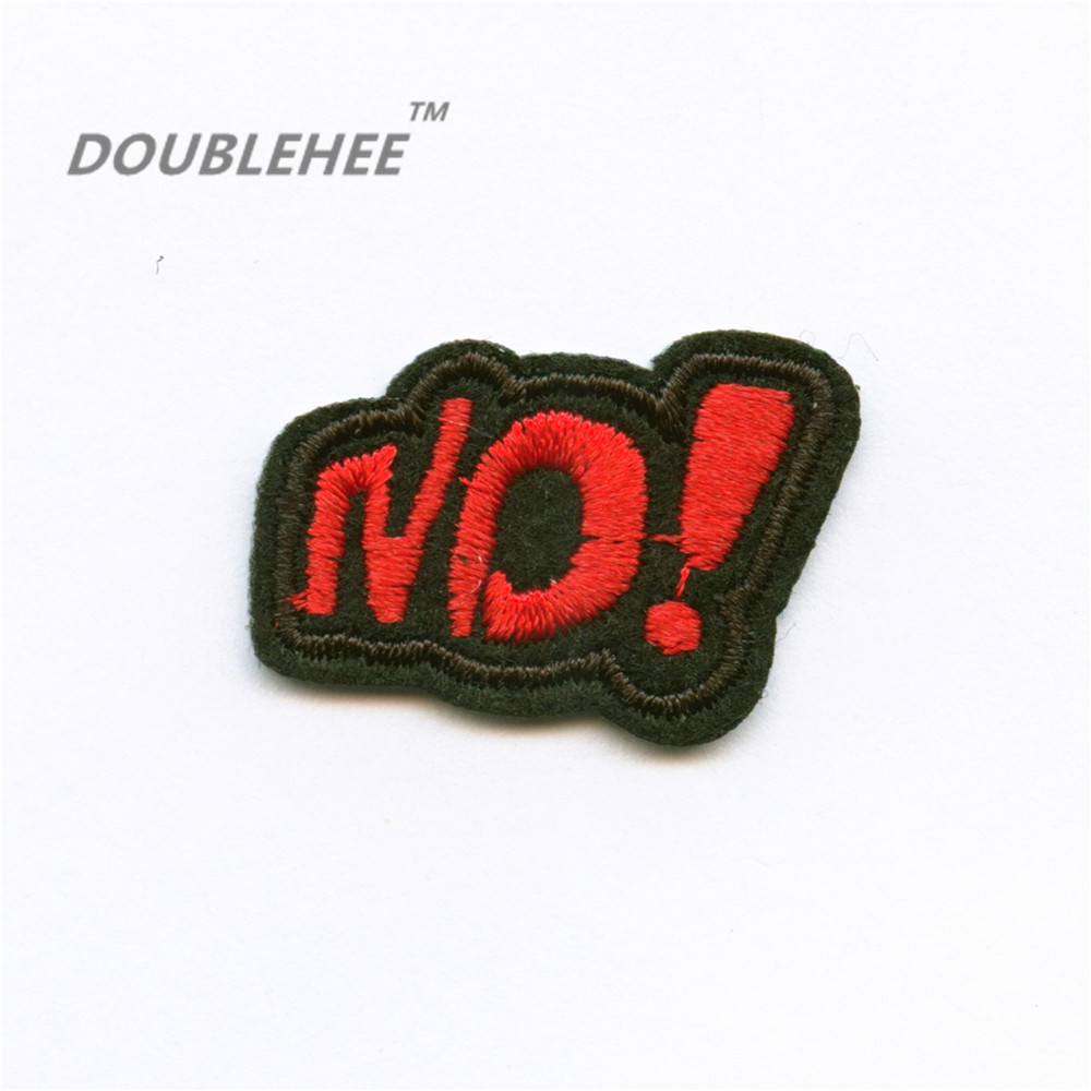 DOUBLEHEE Small Size 3.4cm*2cm Embroidered Iron On Patches Red NO Letters Design Embroidery DIY Garments Shoes Bags Accessories
