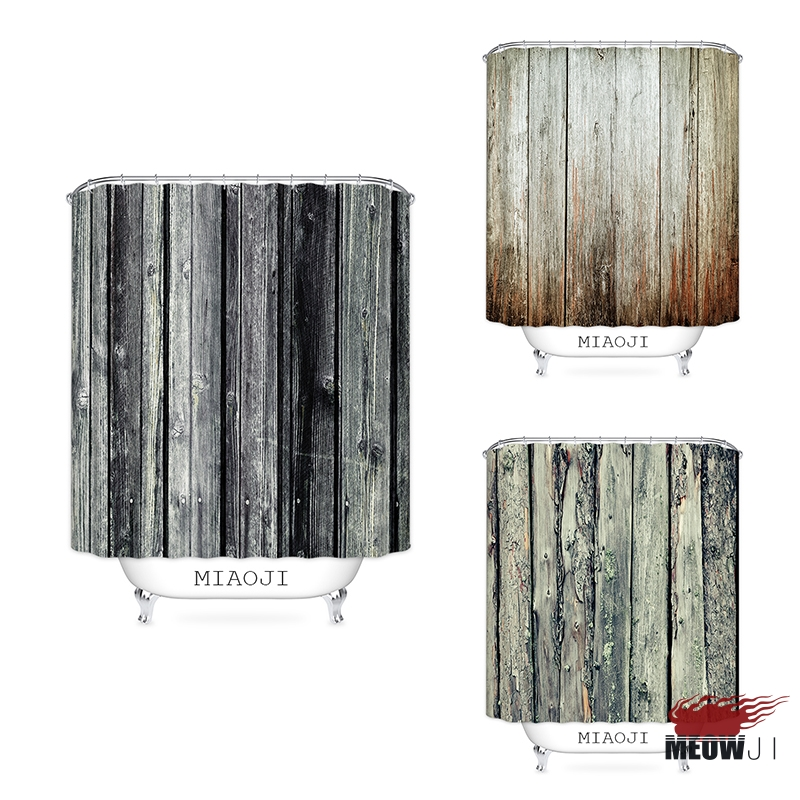 [MIAOJI] Nordic Wood Board Grain Pattern Shower Curtain Vintage Printed Polyester Fabric Bathroom Decor with Hooks Free Shipping
