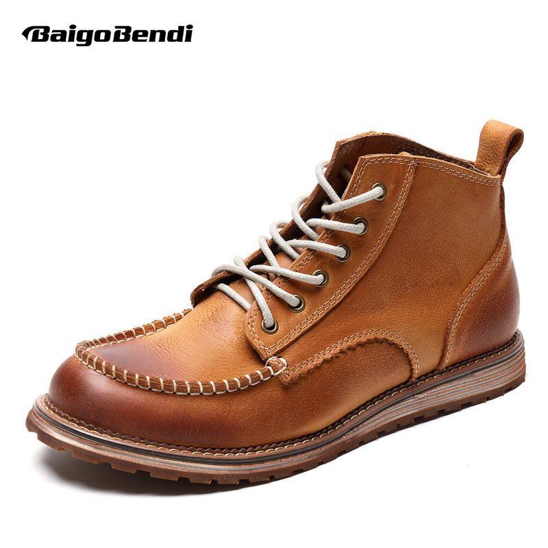 Hight Quailty Mens Genuine Leather Lace Up Round Toe Work Safety Martin Ridding Boots Super Warm