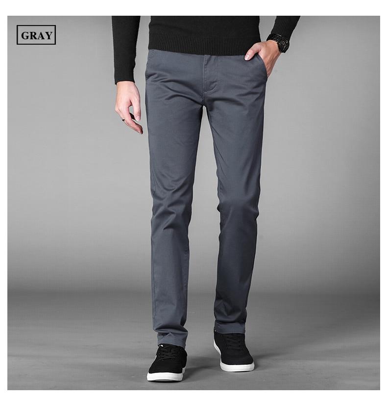 4 Colors Casual Pants Men Classic Style 2019 New Business Elastic Cotton Slim Fit Trousers Male Gray Khaki Plus Size 42 44 46