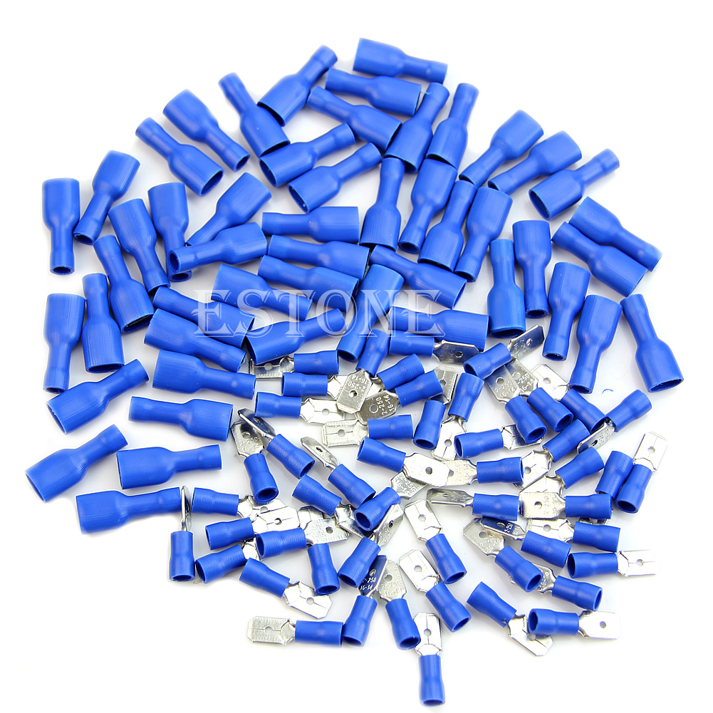 New 100x Blue Insulated Spade Electrical Crimp Wire Cable Connector Terminal Kit