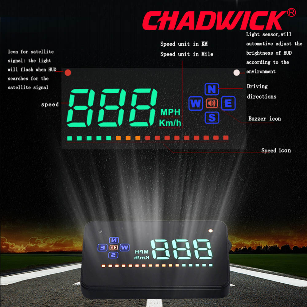 Image 3 - HUD Digital GPS Speedometer Head Up Display Auto Windshield Projector Electronics Car Speed Projector CHADWICK A2 accessories-in Head-up Display from Automobiles & Motorcycles